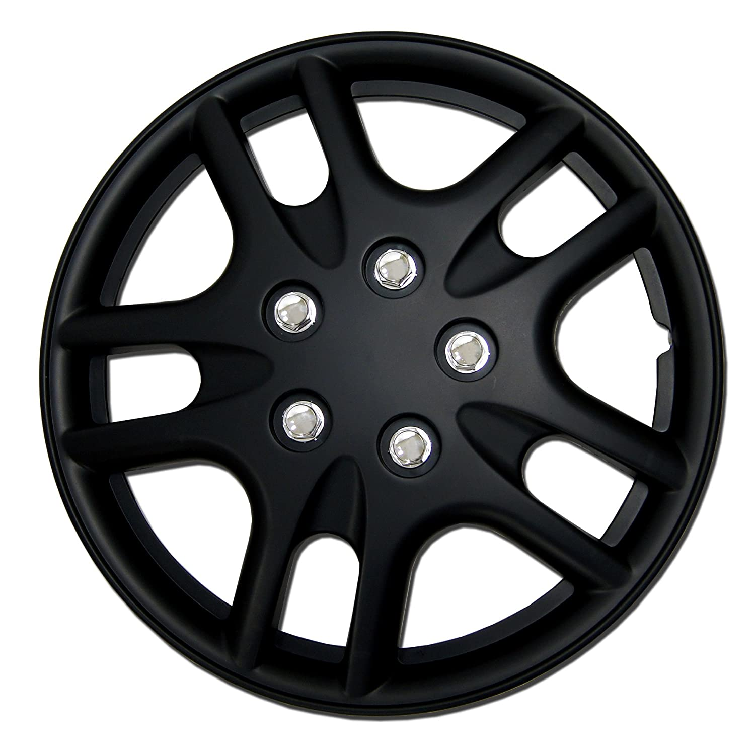 15-Inches Style 721 Snap-On Pop-On Tuningpros WC3-15-721-B Pack of 4 Hubcaps Type Matte Black Wheel Covers Hub-caps