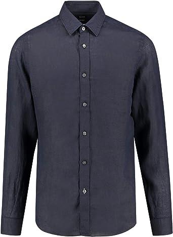 Hugo Boss Camisa Lukas de lino regular Fit – Azul oscuro: Amazon.es: Ropa y accesorios