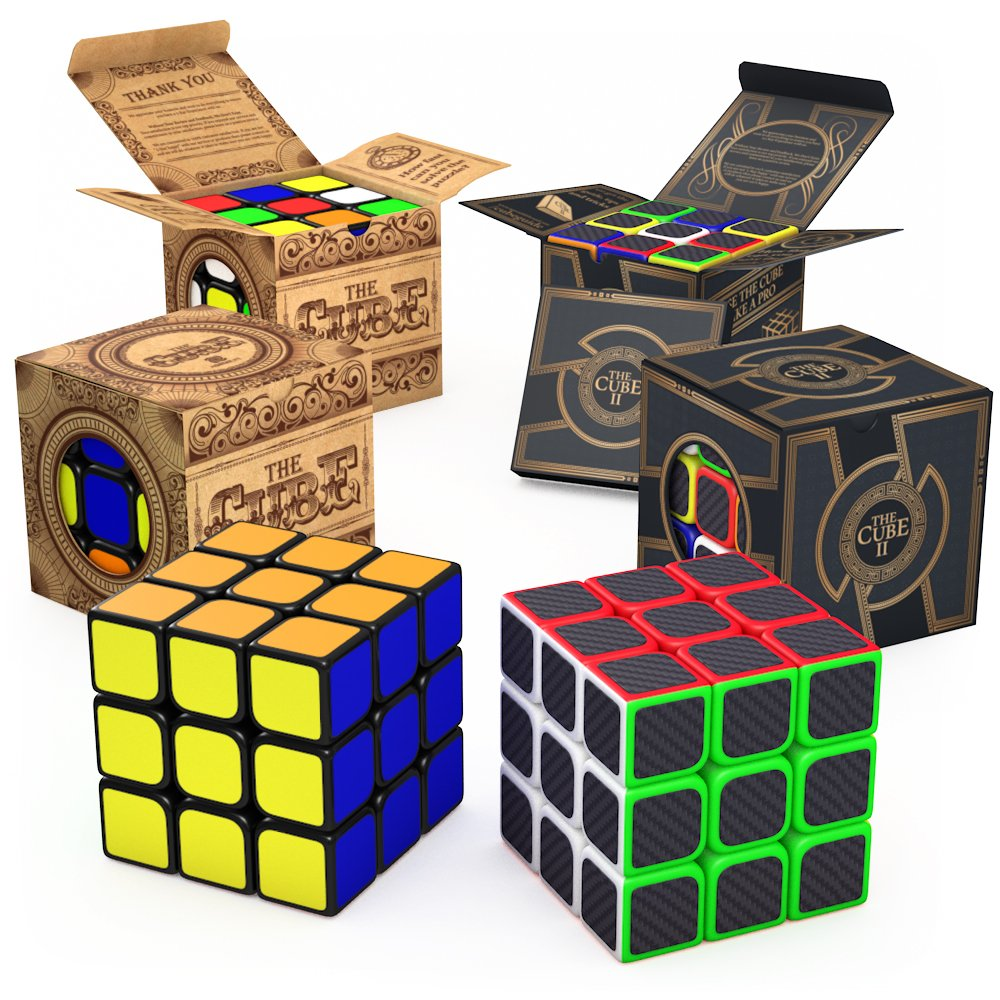 aGreatLife 3x3x3 Carbon Fiber Sticker and 3x3 The Cube: Two 3x3 Speed Cubes in One Set - Fun and Excitement in Two Super Durable High Speed Puzzle Cubes