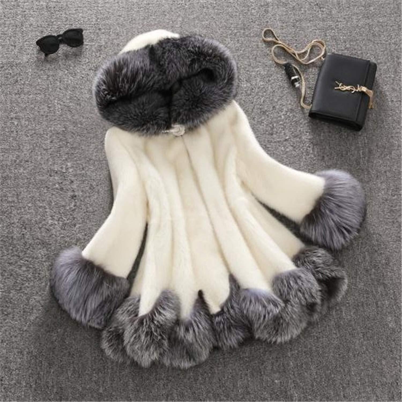 Faux Fur Coat Women Mink Coat Fox Fur Collar Hooded Jacket Top Fur Coats