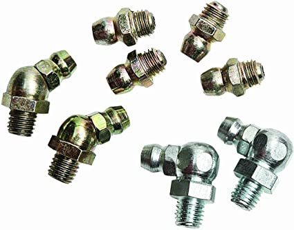 SAE 1//4-28 Taper Thread 8 Piece Grease Fitting Assortment Lumax LX-4801 Gold//Silver