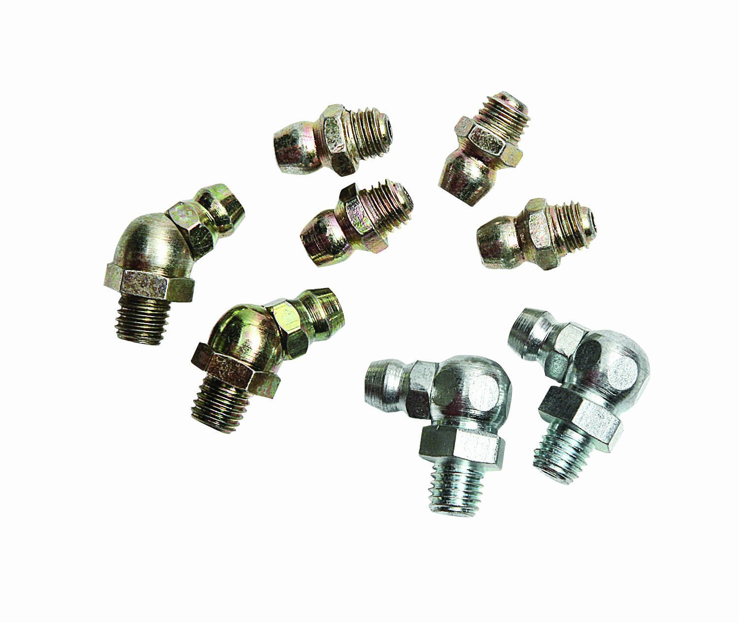 Lumax LX-4801 Gold/Silver (SAE) 1/4''-28 Taper Thread 8 Piece Grease Fitting Assortment