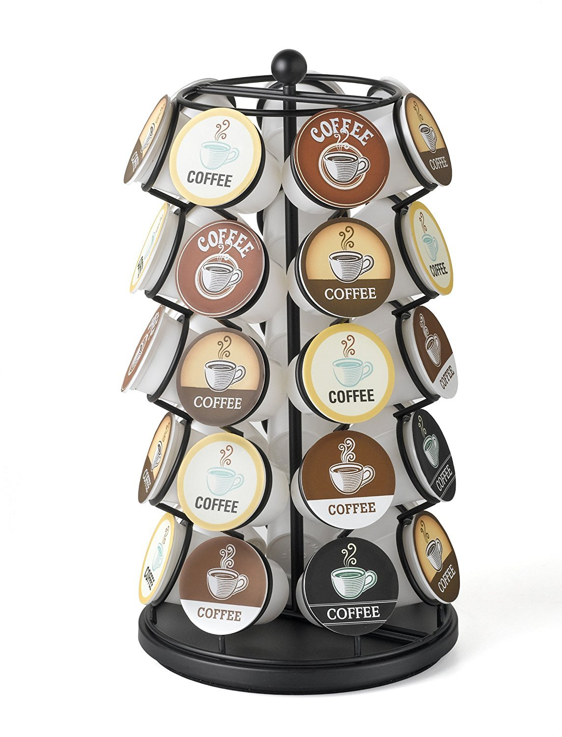 K-Cup Carousel Organizer Quality Spinning Keurig K Cup Coffee Pod Tower Single Serve Nespresso Storage Rack Heavy Duty 360 Degree Rotating Espresso Capsules Holder Holds 35 K Cups Classic Black