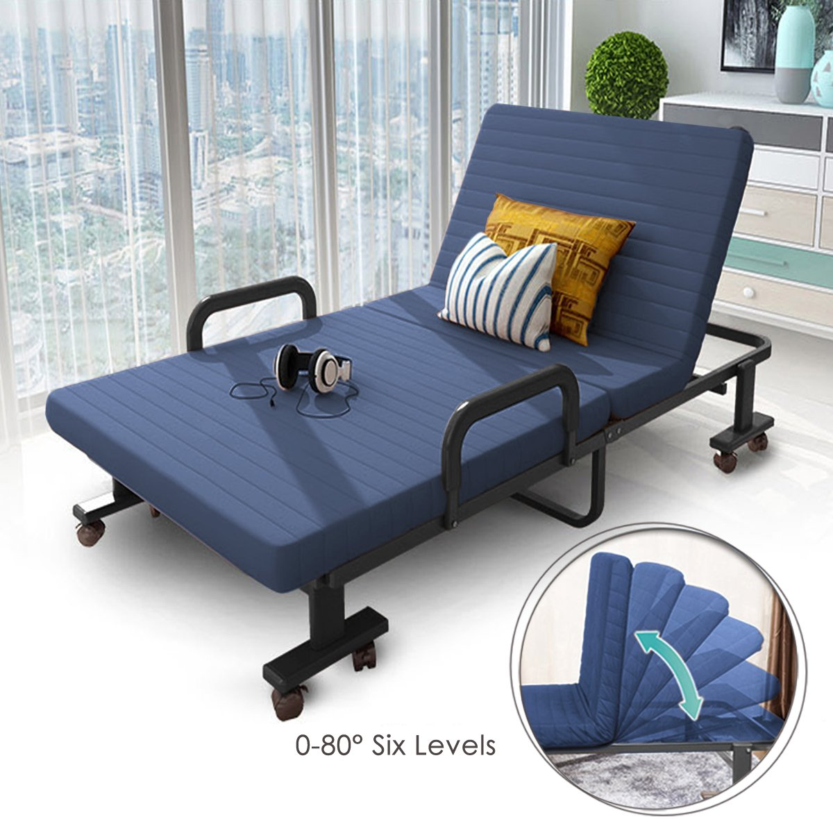 H&A 75''x 32'' Folding Rollaway Bed Adjustable Guest Bed Chaise Lounge Chairs with Reversible Mattress and Pillow (Navy Blue)