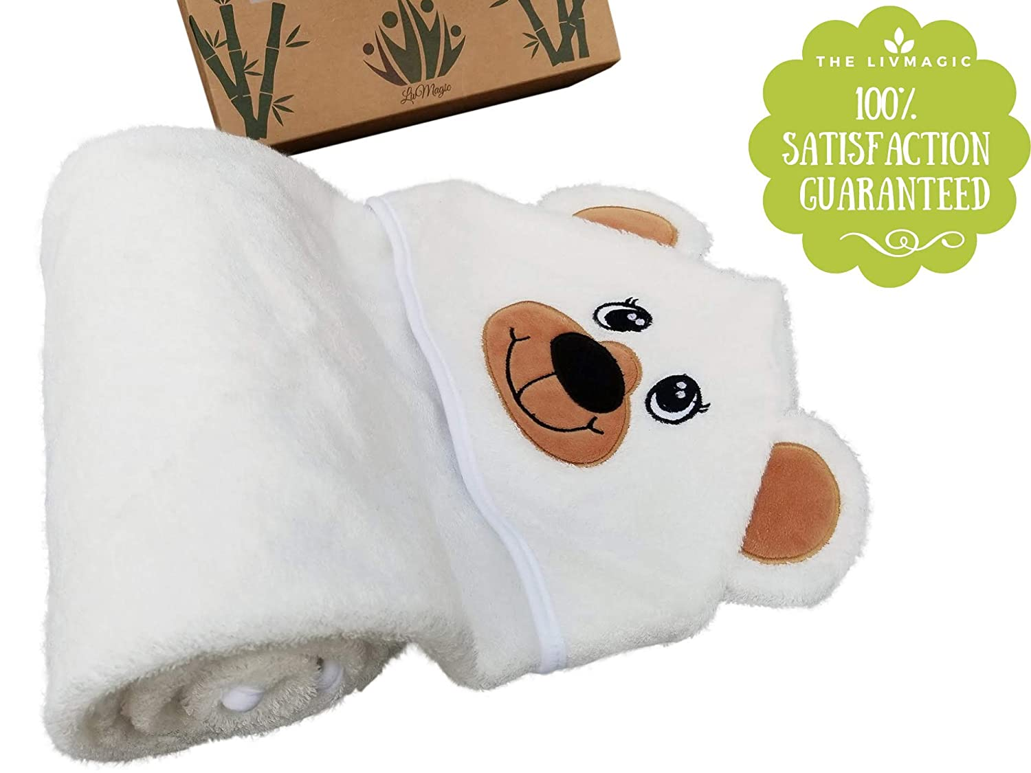 with Unique Bear Face Design A Perfect Gift for Infants and Toddlers Size 36X36 100/% Organic Bamboo Premium Hooded Baby Towel with Bonus Free eBook