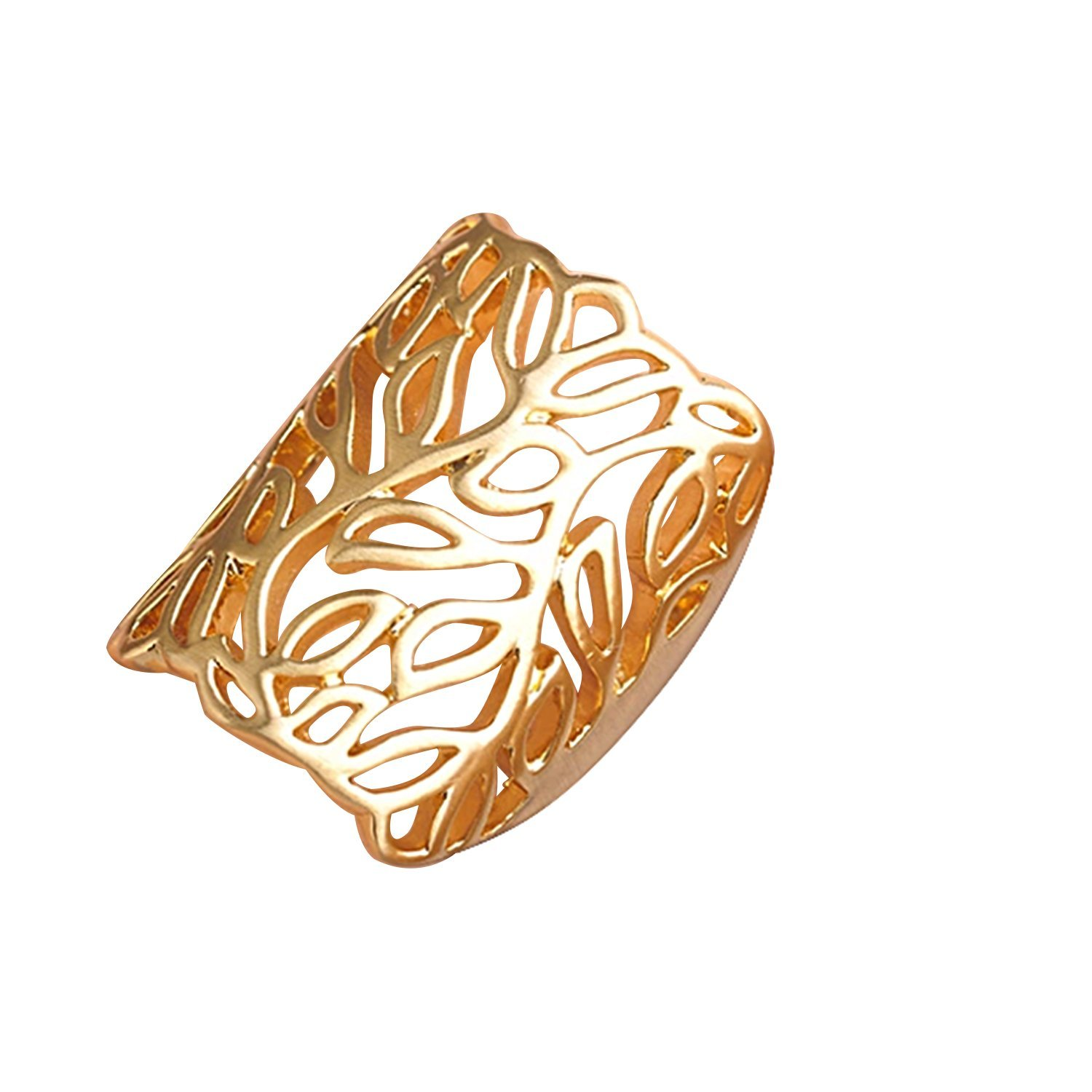 Cocktail Statement Flower Leaf Shaped Big Size Women Wide Gold Web Hollow Party Wedding Ring