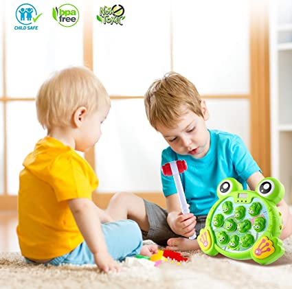 Huggler Whack a Frog Interactive Toy Toddler Toys for 2,3,4,5,6,7,8 Year-Old Boys and Girls Early Developmental Stem Toy Non Toxic Upgraded 2020 Version