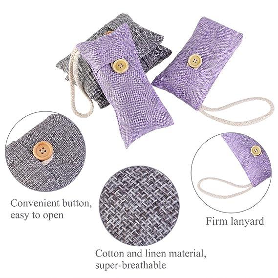 Noulux - Bolsa de bambú con carbón natural para purificar el aire - Confección con 4 bolsas (2 paquetes de 100 gr + 2 paquetes de 90 gr): Amazon.es: Hogar