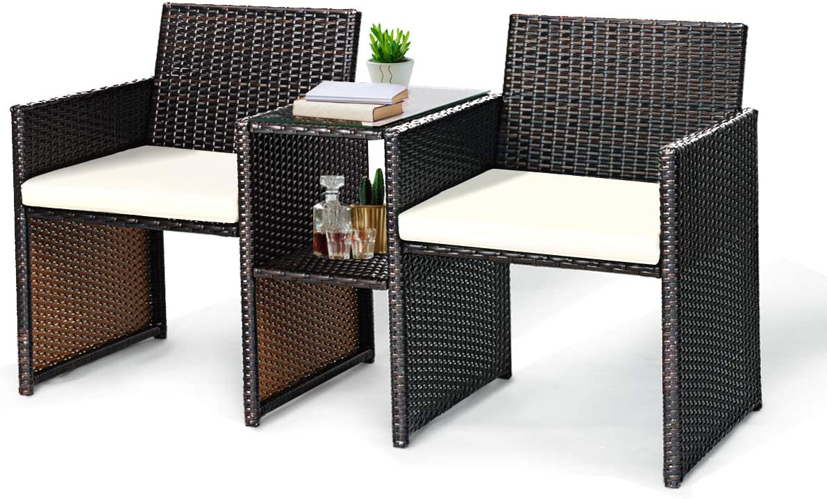 Tangkula Outdoor Furniture Set Paito Conversation Set with Removable Cushions Table Wicker Modern Sofas for Garden Lawn Backyard Outdoor Chat Set Sofa Style