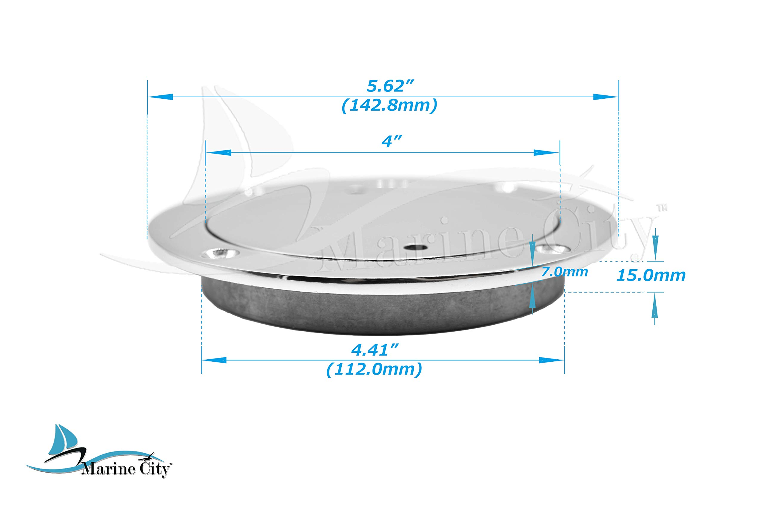 Marine City 4 Inches Round 316 Stainless Steel Inspection Deck Plate for Boat by MARINE CITY