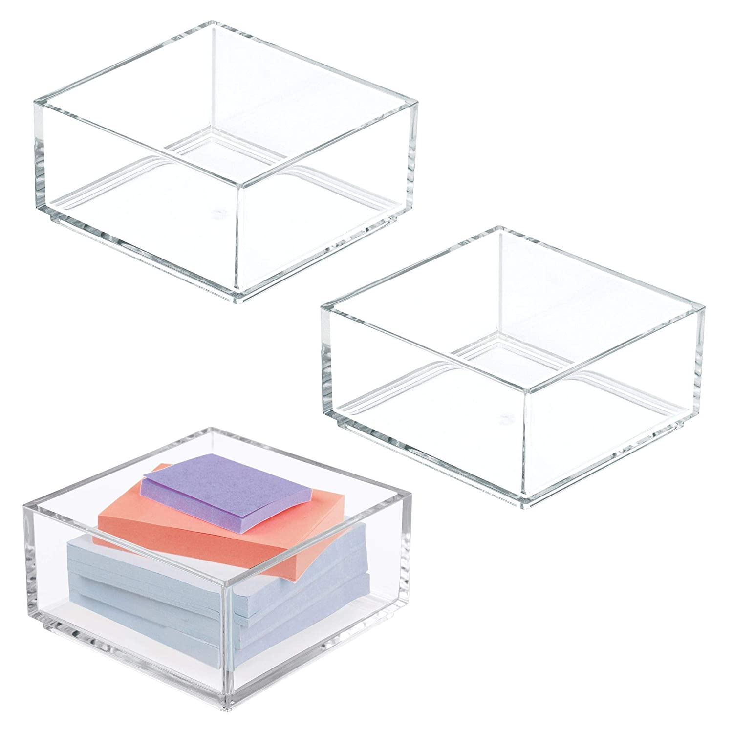 "mDesign Plastic Stackable Drawer Organizer for Home Office, Desk Drawer, Shelf or Closet to Hold Staples, Highlighters, Adhesive Tape, Paper Clips, Stamps - 4"" Square, 3 Pack - Clear"