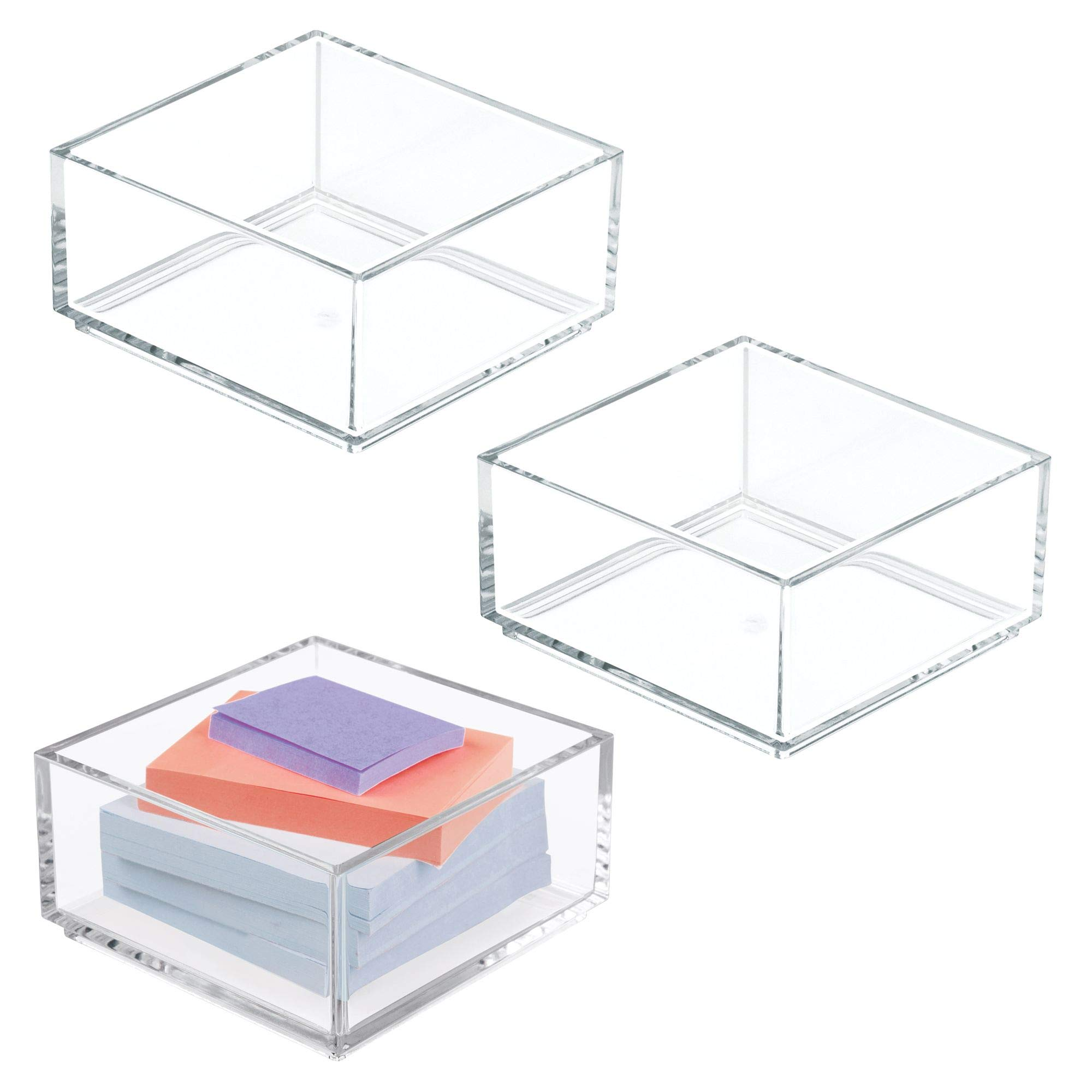 mDesign Stackable Office Supply Plastic Drawer and Desktop Storage Organizers for Sticky Notes, Paper Clips - Pack of 3, Clear