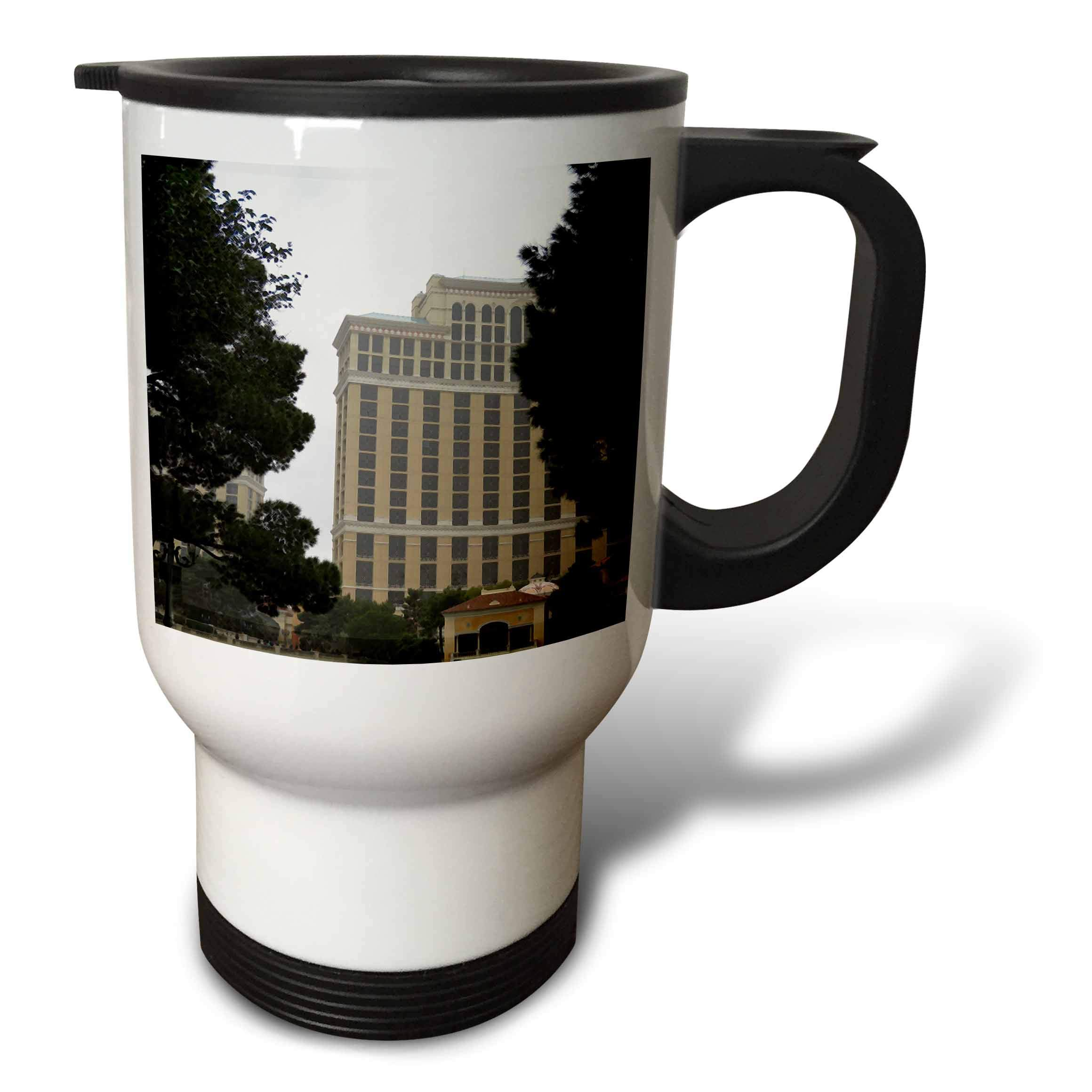 3dRose Jos Fauxtographee- Vegas Hotal with Trees - A Vegas Hotel that has been digitally dry brushed with trees - 14oz Stainless Steel Travel Mug (tm_291087_1)