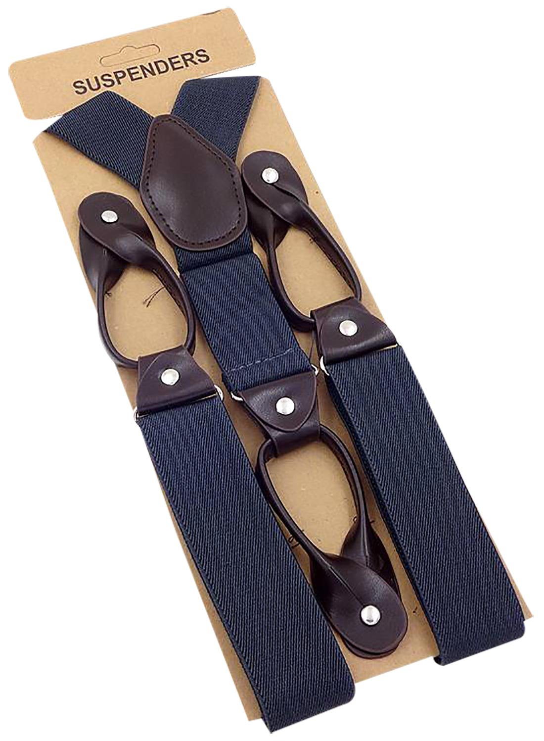 Panegy Hight Quality Men's Adjustable Elastic Y-Shape Button Suspenders-Blue