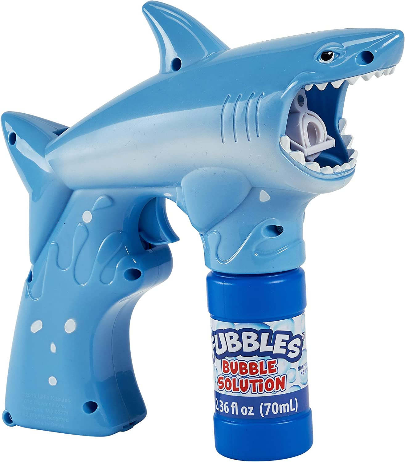 Little Kids Fubbles Shark Premium Quality Bubble Blaster for Boys and Girls with Fun Lights and Shark Themed Sounds. Premium Bubble Solution Included