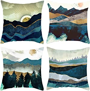 HOSTECCO Nature Landscape Pillow Covers Pack of 4 Abstract Color Oil Paint Square Decorative Pillow Cases 18x18 Inches