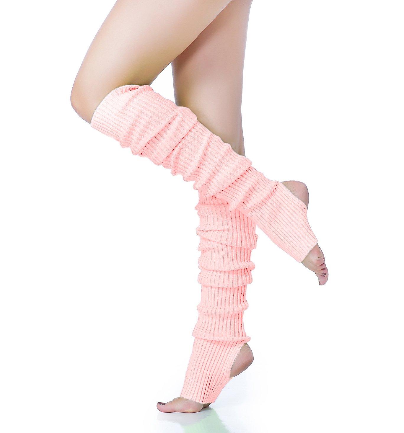 Long Leg Warmer, V28 Women Men 80s Eighty's Ribbed Knit Dance Sports Leg Warmers (Hole71-pink)