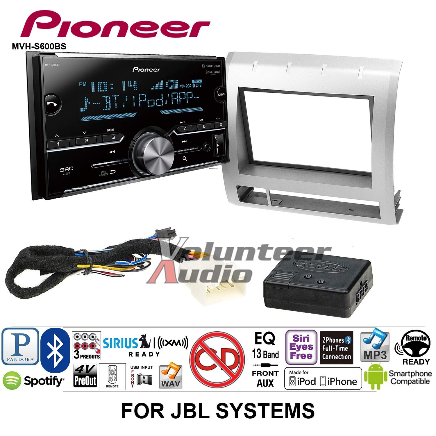 Volunteer Audio Pioneer MVH-S600BS Double Din Radio Install Kit with Bluetooth USB/AUX Fits 2005-2011 Toyota Tacoma with Amplified System (Silver)