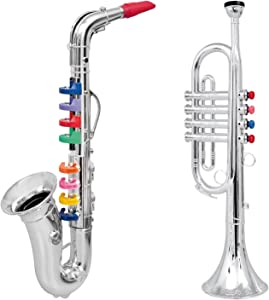 Click n' Play Set of 2 Musical Wind Instruments for Kids - Metallic Silver Saxophone and Trumpet Horn