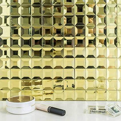 Amazoncom Efavormart 10 Pack Gold Self Adhesive Mirror Backsplash