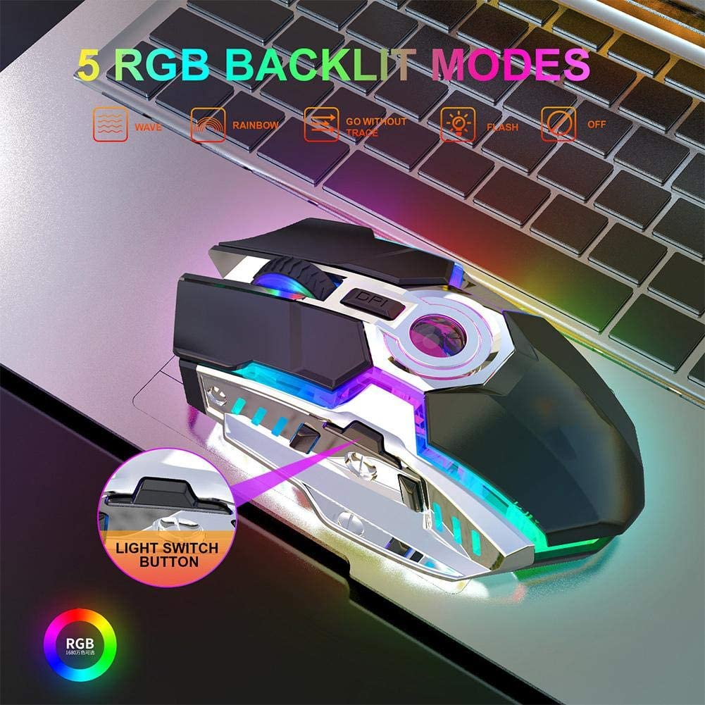 3 Level Adjustable Resolution,Professional Mouse for Game Gray Office,etc 10m Receive Signal Automatic Sleep Mode 2400 DPI 7 Keys Mouse Gaming with Micro USB Interface 2.4G Wireless RGB Mouse