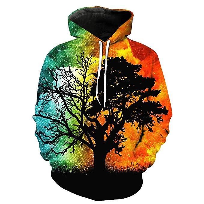 Suéter de Manga Larga con Capucha, Estampado de árbol Amarillo en 3D, patrón de Graffiti, suéter, Sudadera Gruesa, Abrigo de otoño e Invierno, ...