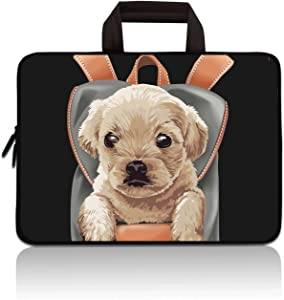 RUYIDAY 11 11.6 12 12.1 12.5 inch Laptop Carrying Bag Chromebook Case Notebook Ultrabook Bag Tablet Cover Neoprene Sleeve Fit Apple MacBook Air Samsung Acer HP DELL Lenovo Asus (Cute Dog)