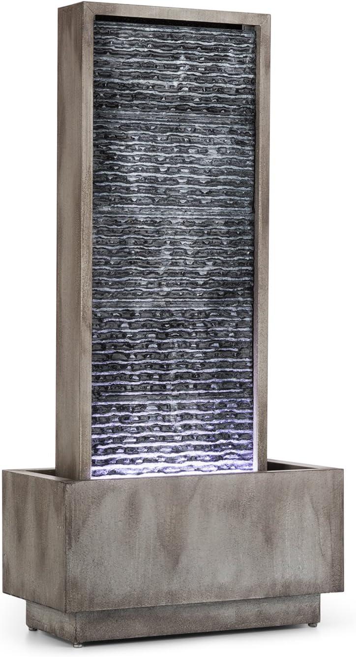 Blumfeldt Imperia - Fuente de jardín, Fuente Decorativa, Bomba de 10 W, Protección IPX8, Canal de Agua de 35 x 75 cm, 10 m de Cable, LED, para Exteriores e Interiores, Galvanizado, Gris