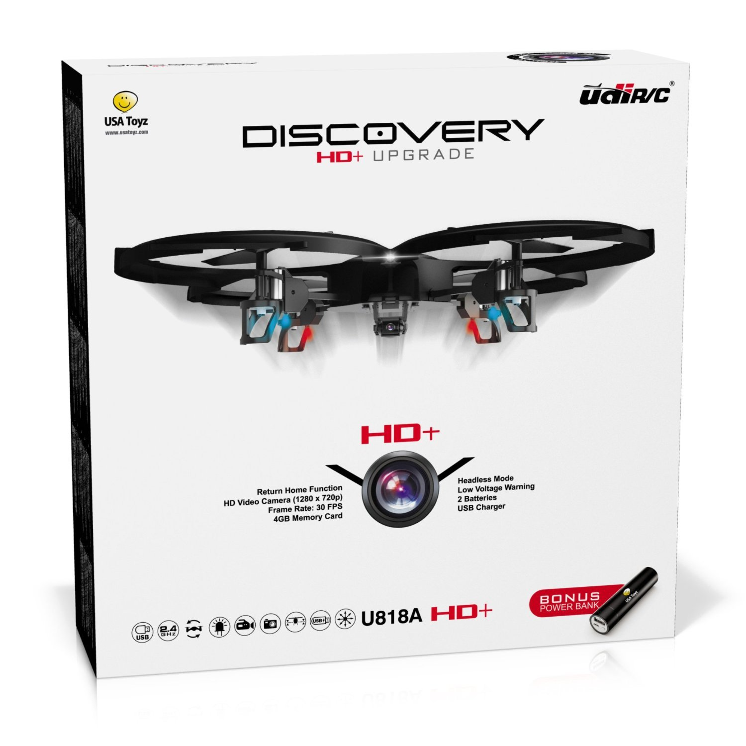 "Force1 Drones with Camera – ""UDI U818A Discovery"" Camera Drone with 720p HD RC Quadcopter Drone Camera w/ Micro SD Card + Power Bank and Bonus Battery by Force1"