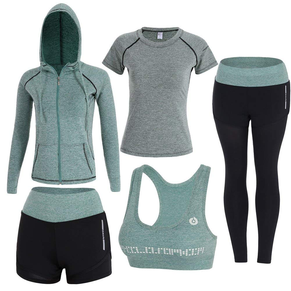 Green Onlyso Women's 5pcs Sport Suits Fitness Yoga Running Athletic Tracksuits