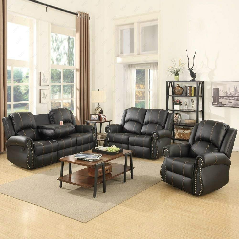 Amazon com mecor bonded leather recliner gold thread reclining sofa living room furniture 1 2 3 pieces black kitchen dining