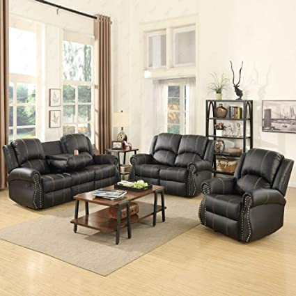 reclining living room furniture sets. Mecor 3 Piece Sofa Set, Bonded Leather Gold Thread Reclining Living Room  Furniture, Reclining Living Room Furniture Sets L