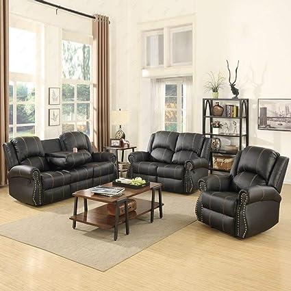 3 piece couch set modern amazoncom mecor piece sofa set bonded leather gold thread reclining living room furniture amazoncom