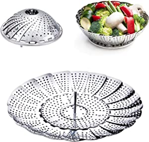 Steamer Basket, Stainless Steel Expandable Steamer Basket for Veggie/Seafood Cooking/Boiled Eggs-Folding Steamers to Fits Various Size Pot (6.1