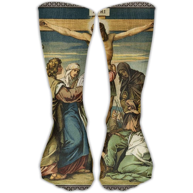 Unisex Classics Socks Jesus' Crucifixion In Art Illustrates Athletic Stockings 60cm Long Sock One Size