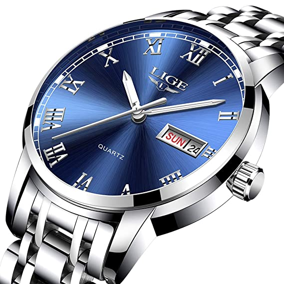 LIGE - Reloj analógico de cuarzo para hombre, resistente al agua, de acero inoxidable, para hombre, estilo casual, deportivo, deportivo, dorado y ...