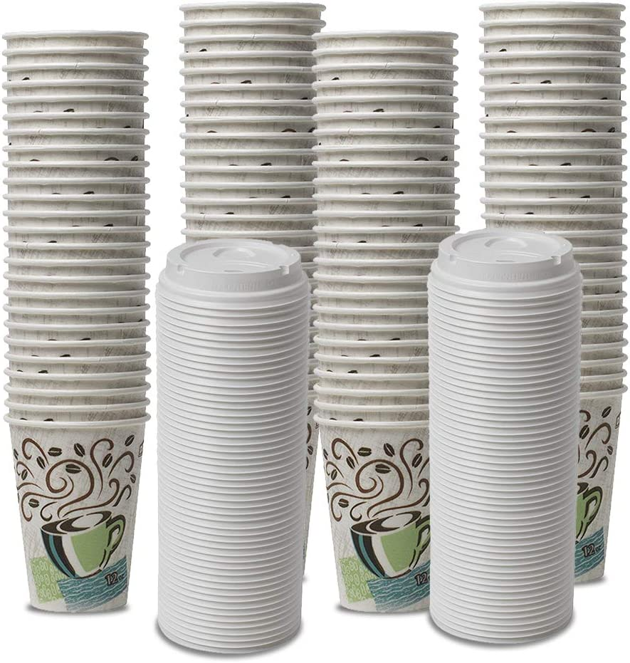 Dixie PerfecTouch WiseSize Coffee Design Insulated Paper Cup, 12oz Cups and Lids Bundle (12 oz, 100 Cups, 100 Lids)