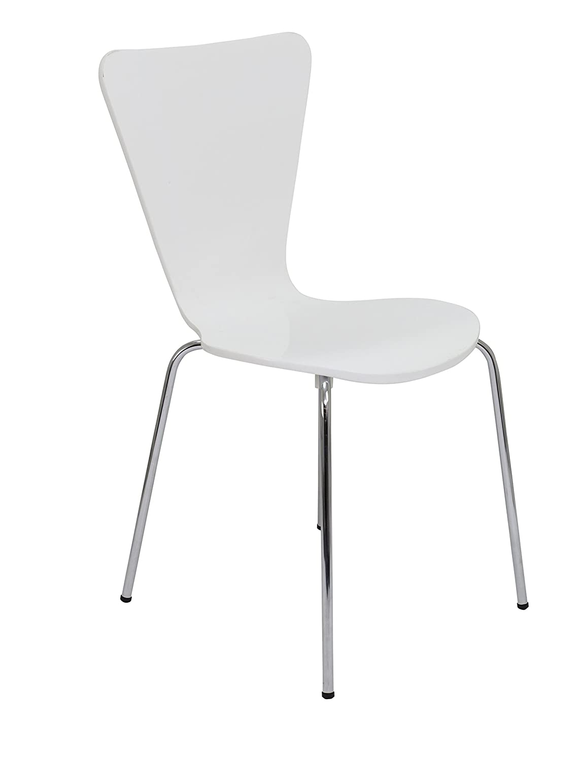 Office Hippo Heavy Duty Cafe Bistro Stacking Chair, Wood, Suitable For Commercial Use - White TC Group CH0672WH