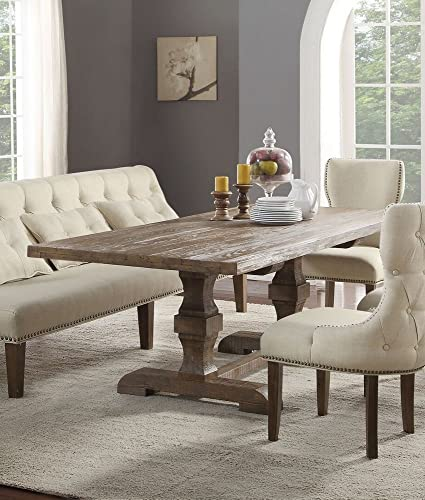 ACME Inverness Dining Table w Double Pedestal – 66080 – Salvage Oak