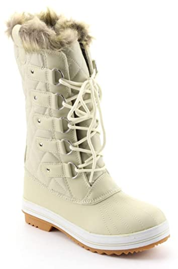 dea4ae99849 CALICO KIKI Women s Knee High Snow Boots - Insulated Fur Padded -Water  Resistant Lace up