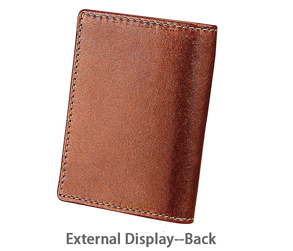 Handmade OX Leather Front Pocket Holder Mini Bifold Credit Card Purse Cosarmo Mens Wallet,Slim RFID blocking Wallet for Men