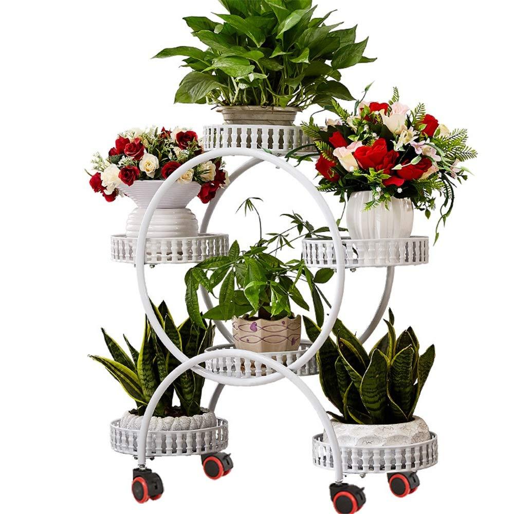 Espositore per fiori a più strati Stand multi-strato in ferro Stand in metallo con ruote mobili Portaoggetti in metallo con base in metallo da giardino in piedi con pianta in vaso da fiori Mensola del