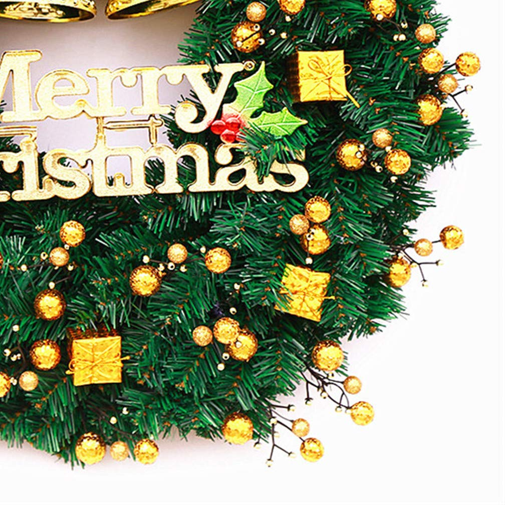 Mynse 15.7'' Artificial Pine Branch Christmas Wreath for Front Door Mall Window Hotel Christmas Decoration Christmas Ball Wreath Golden and Green by Mynse (Image #4)