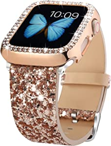 Bling Bands Compatible with Apple Watch Band 38mm 40mm 42mm 44mm + Case, Women Glitter Leather Strap with Bling Diamond Protector Cover for iWatch Series 6 5 4 3 2 1 SE Sport Edition (Rose Gold, 40mm)