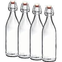 Bormioli Rocco Swing Top Bottles - Set of 4 (1 Liter) Glass Bottle with Airtight Stopper, for Oil, Vinegar, Beverages, Liquor, Beer, Water, Kombucha, Kefir, Soda,