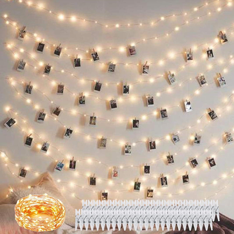 10M Led USB String Lights avec interrupteur Photo Clips String Lights Holder Indoor Starry Lights pour accrocher des photos cartes Clip Holder pour d/écoratif-WM 5M SELUXU 2M