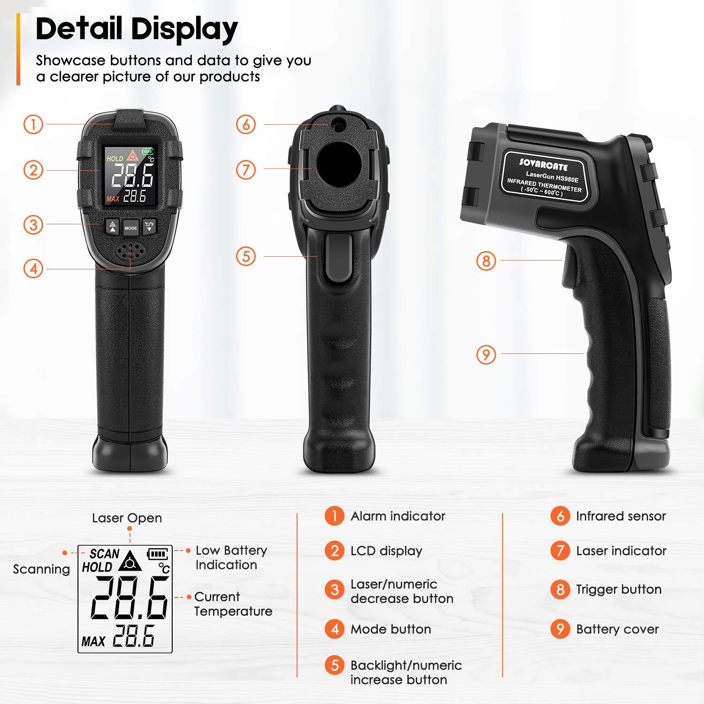 Term/ómetro Infrarrojo SOVARCATE Term/ómetro L/áser Digital IR Pistola de Temperatura Alarma de Temperatura Alta y Baja 26 /° F ~ 1112 /° F Sonda de Temperatura Cocina//Aire//Refrigerador