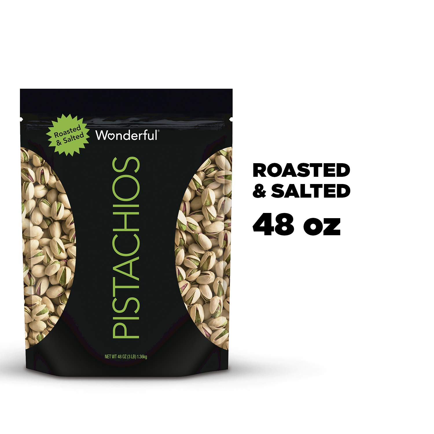 Wonderful Pistachios, Roasted & Salted, 48 Ounce. Resealable Bag