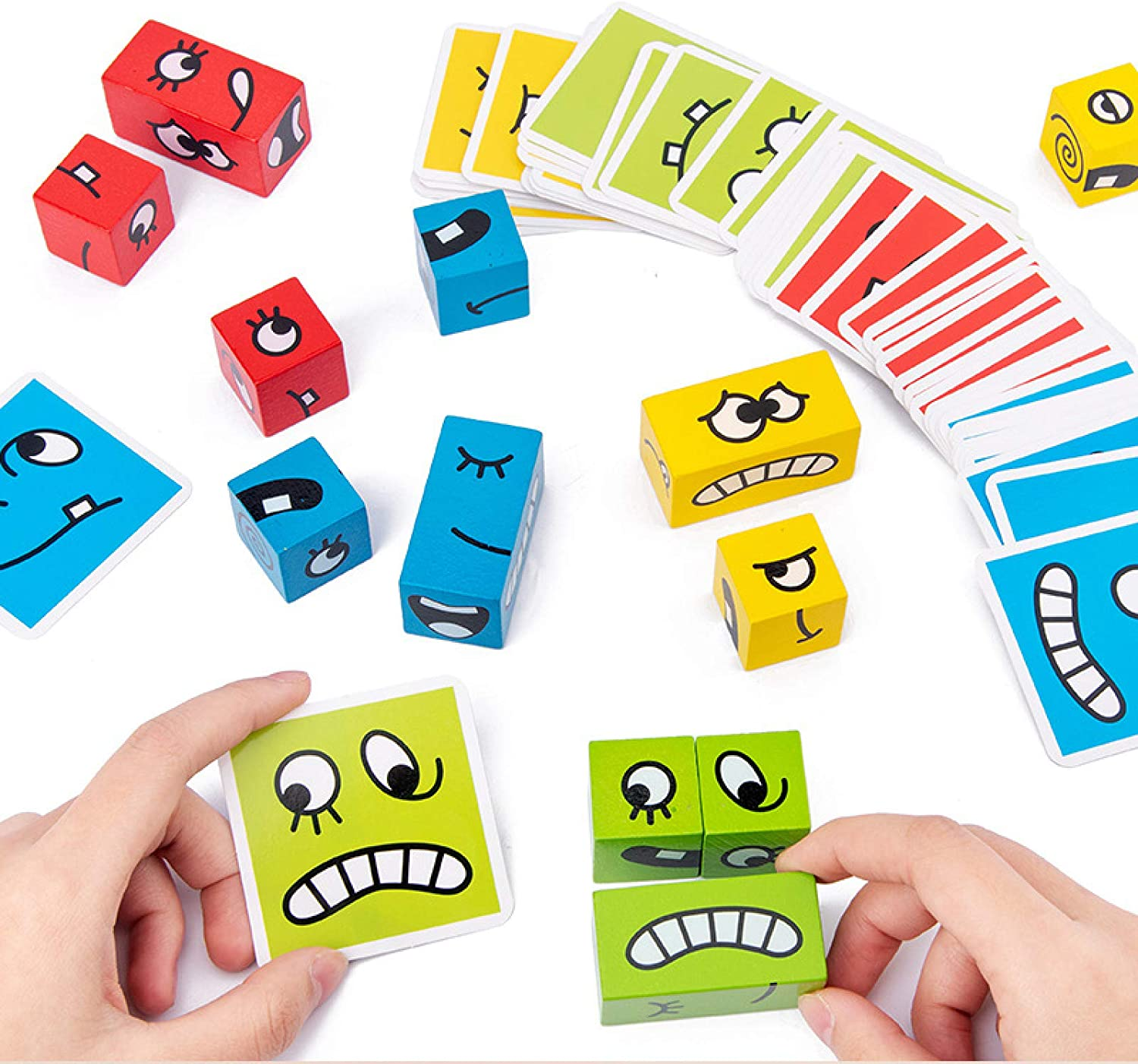 Syfinee Thinking Training Children Face-Changing Cubes Toy Christmas Gifts Wooden Puzzle, Funny Expression Puzzle Colorful Magic Cube For Children 3-5 Year Boy Girl Kids Gift g Game