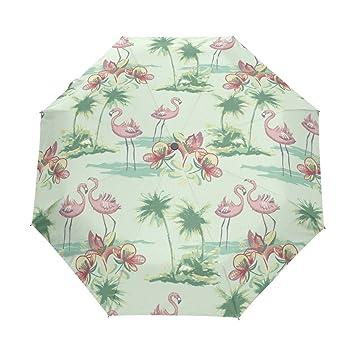 BENNIGIRY Paraguas de Viaje Resistente al Viento, Color Rosa Flamenco con árbol de Coco y